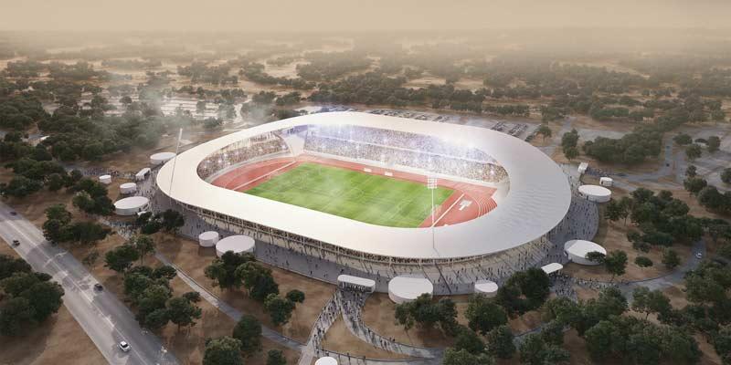 Dans le cadre de la prochaine Coupe d'Afrique des Nations qui se tiendra en 2021, l'agence française SCAU a décroché la conception du stade de Yamoussoukro. Monumentale mais minimaliste, l'enceinte disposera de trois gradins « enterrés » dans la déclivité naturelle du terrain…