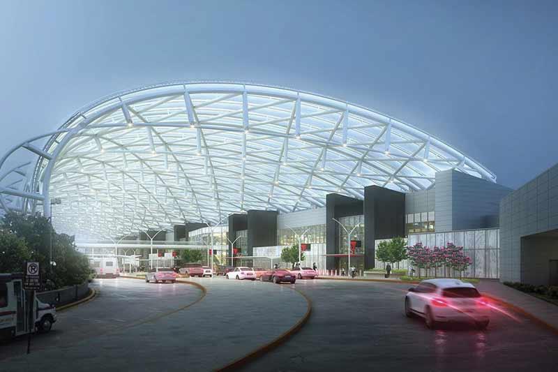 Le futur toit du Hartsfield Jackson Terminal sur l'aéroport d'Atlanta (États-Unis) se composera d'une couverture d'éthylène-tétrafluoréthylène à deux couches dont les éléments seront gonflés comme des bulles. Au-dessus de la toiture, ces cercles argentés protègeront contre la chaleur du soleil.