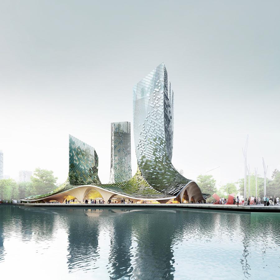 Au sud-ouest de Shanghai, l'agence d'architecture française XTU veut ériger en association momentanée son projet de quatre tours ('French Dream Town'; Hangzhou) aux façades torsadées à panneaux en micro-algues.