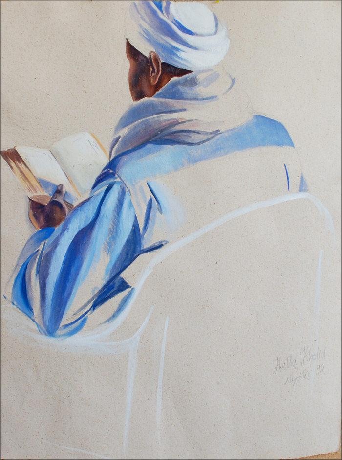 El Khatmah 1992, Gouache on brown paper 72 x 51 cm