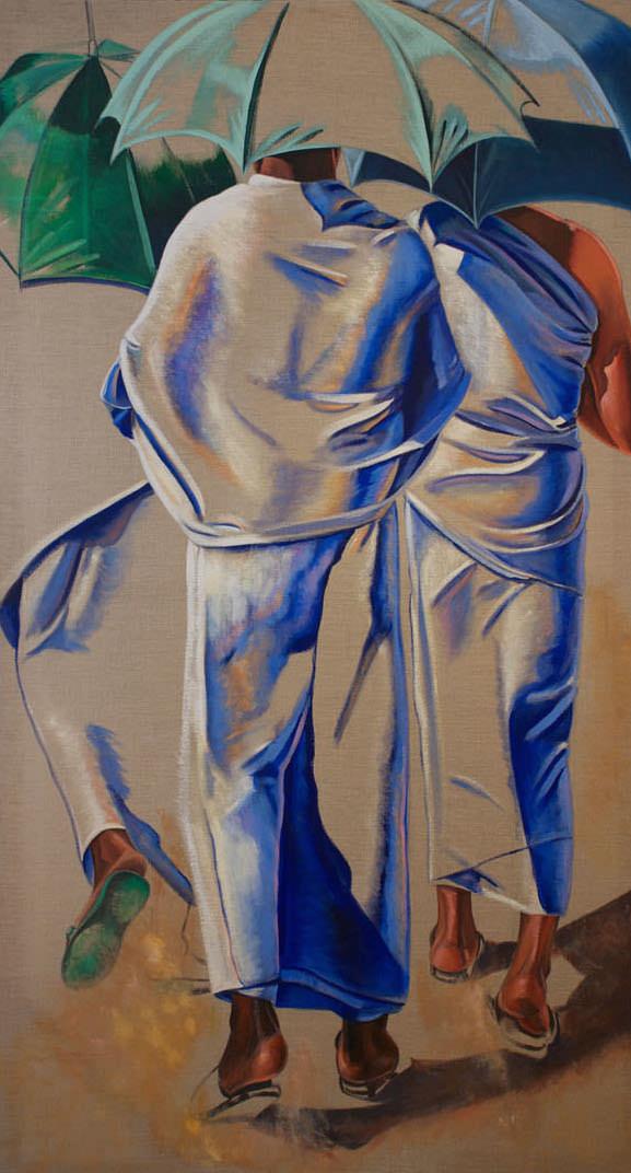 Three Umbrellas, 1995, Acrylic on raw canvas, 200 x 111 cm