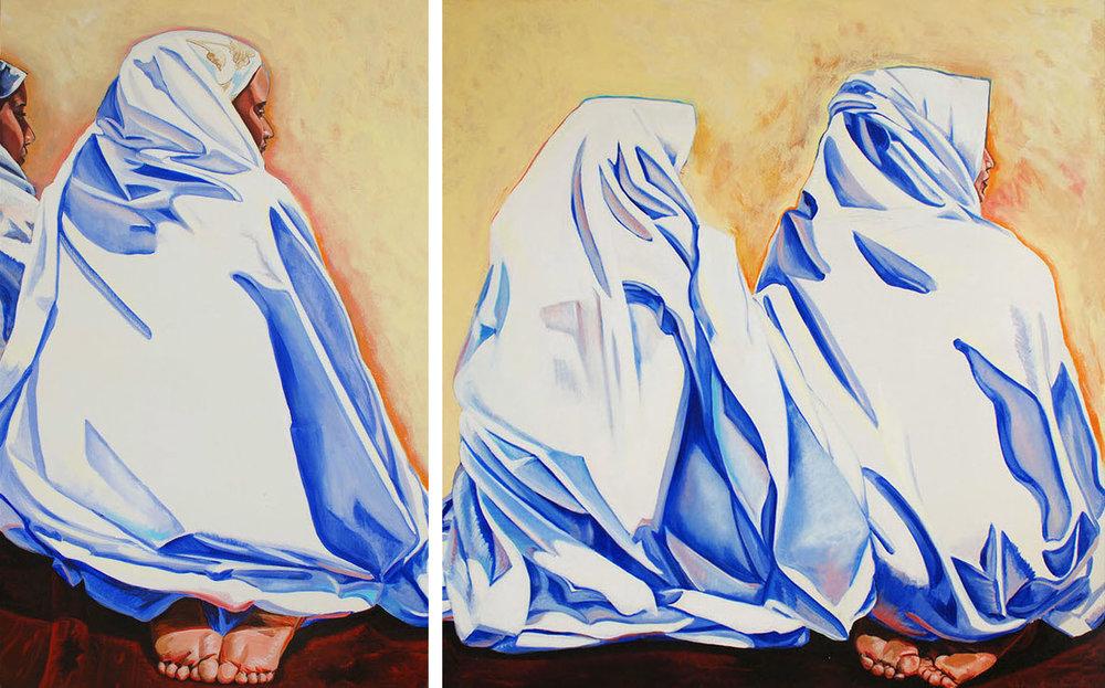 Tasleemah 1, 2001, Acrylic on canvas, 110 x 67 cm / Tasleemah 2, 2001, Acrylic on canvas, 103 x 110 cm