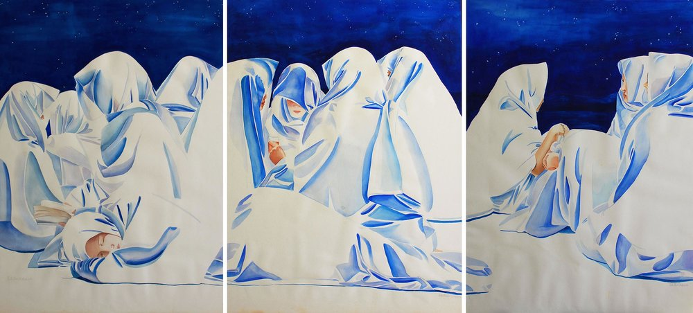 Muzdalifa Night, 1994, Watercolour & gouache on paper, 95.5 x 390 cm (triptych)