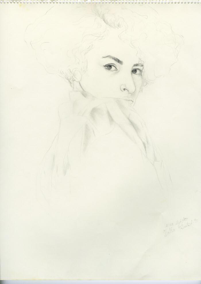 Hair Cut, 1990, Pencil on paper, 40 x 35 cm