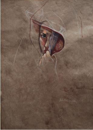 Melancholy, 1993, Gouache on brown paper, 60 x 45.5 cm