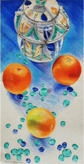 Moroccan Oranges. 2001, Mixed media on paper, 50 x 14 cm