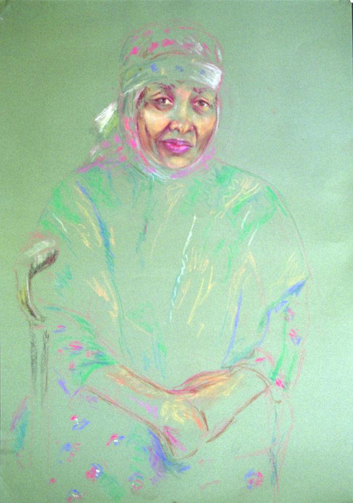 Study- Mother's Wet Nurse, 1989, Dry Pastel, 70 x 50 cm