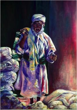 Coffee seller, 1989, Oil on canvas, 102 x 76 cm