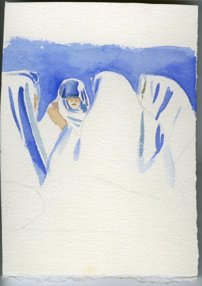 Study- Muzdalifa Night, 1994, Watercolour on paper, 15 x 13 cm