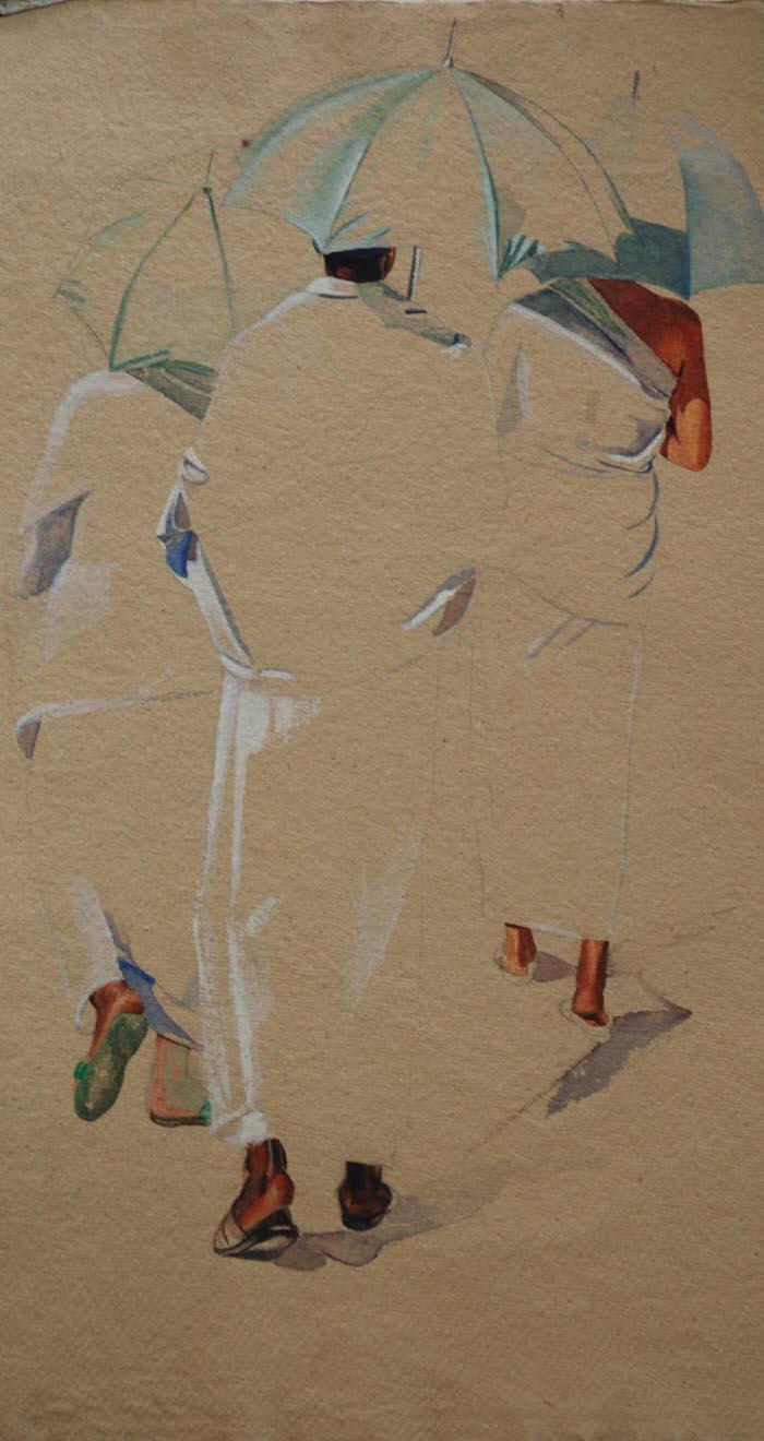 Study- Three Umbrellas, 1995, Gouache on paper, 55.5 x 30.5 cm