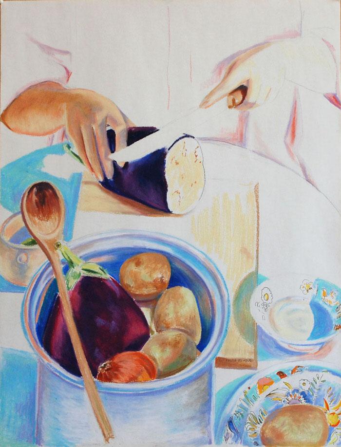 Bathinjan, 1992, Oil pastel, 58.5 x 44.5 cm
