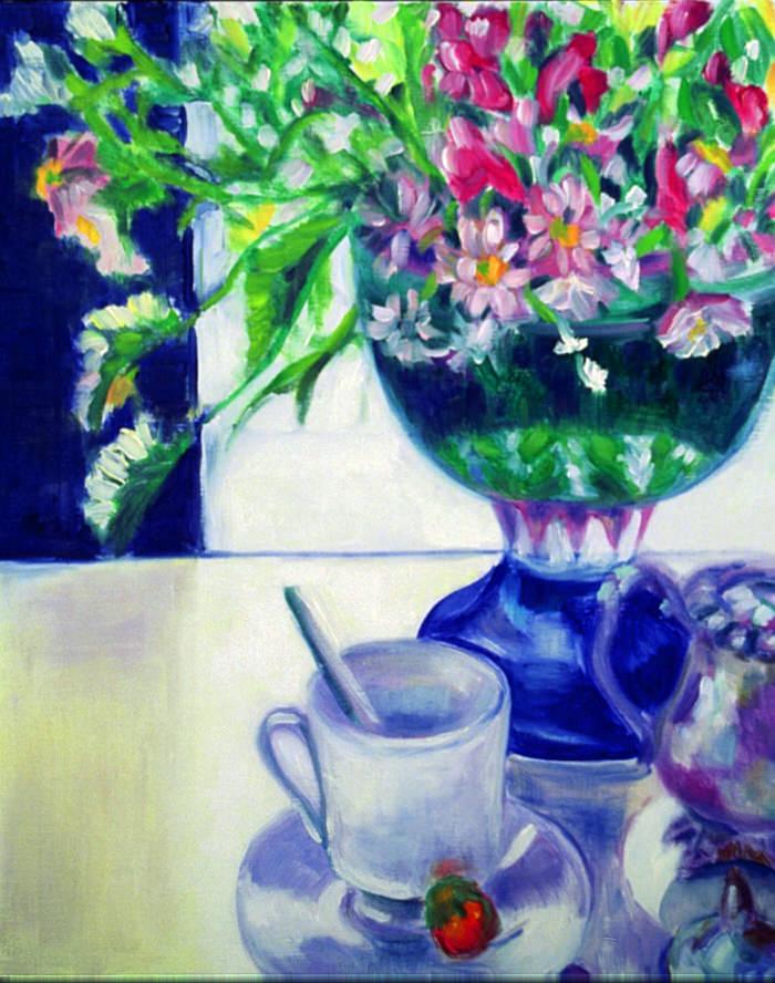 Blue Vase, 1989, Oil, 54.5 x45 cm
