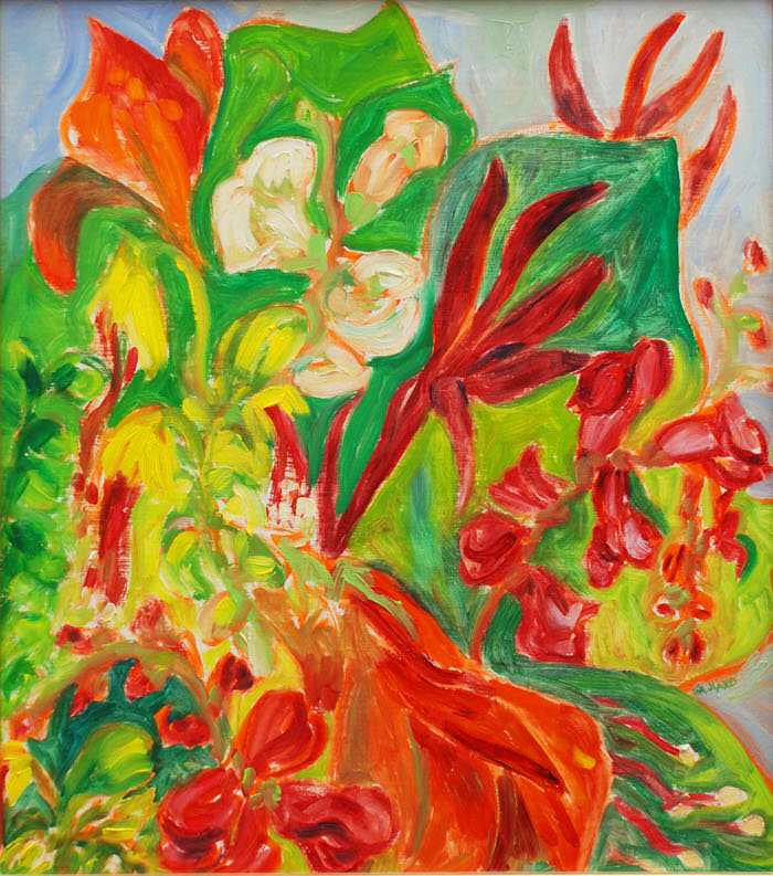 Flaming Blooms, 1989, Oil, 42 x 37 cm