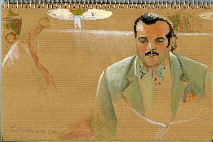 Waiting, 1991,  Gouache in the Artist's sketchbook, 24 x 16 cm