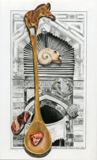 2001, Mixed media on paper, 32.5 x 16.5 cm