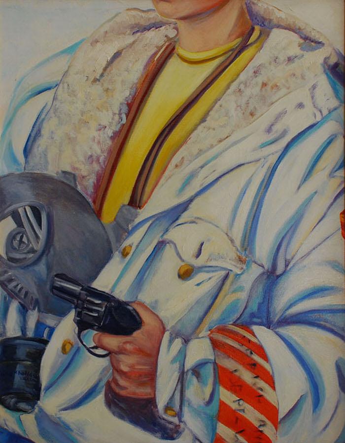 Halla's Got a Gun, 1992, Oil on canvas, 76.5 x 58 cm