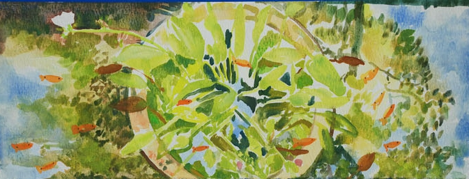 Fishpond (1), 2002, Watercolour on paper, 30 x 15 cm