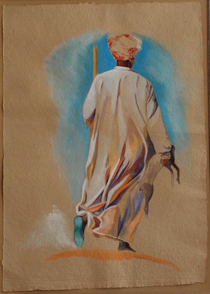 The Shepherd, 1991, Gouache on brown paper, 72 x 51 cm