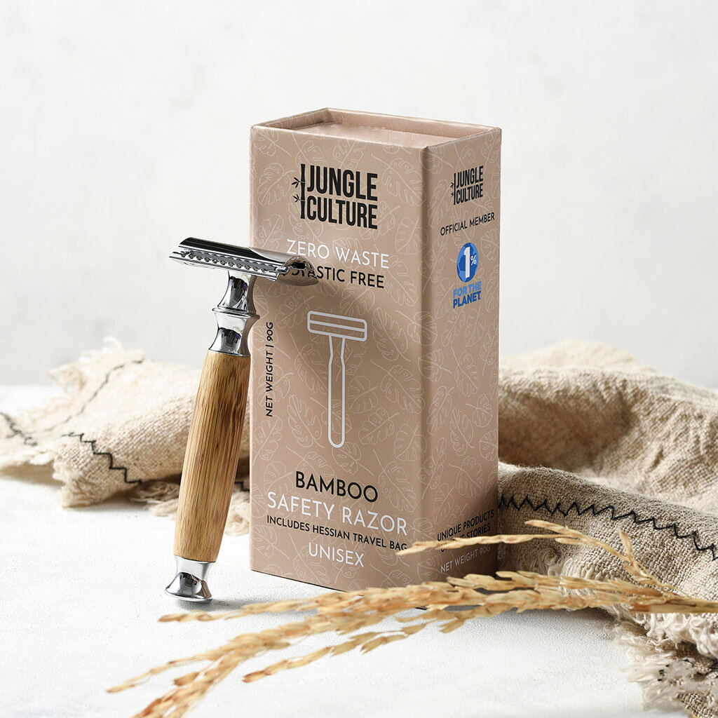 Unisex Reusable Safety Razor | Natural Bamboo Handle — Jungle Straws |  Reusable Bamboo Straws | Zero Waste Essentials