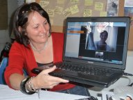 Judith skyping the children