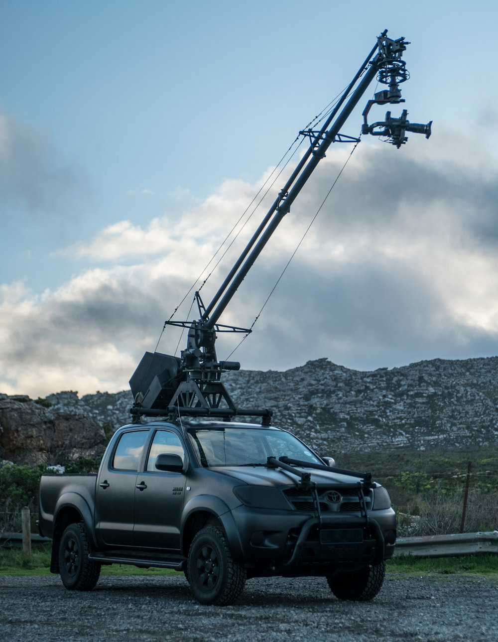 Vehicle specs - Toyota Hilux 4.0L V6 Double Cab 4x40-100km/h: 11s loaded340Nm torqueAutomatic transmissionWeight: 2790kgTrained Precision DriverSeating for 6PAX including driver and arm operator, 5PAX in cab and 1 PAX in exterior back of vehicle