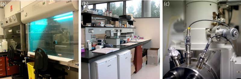 Figure 1:  (a) cell culture facilities, (b) biological sample preparation area, and (c) surface characterisation facilities.