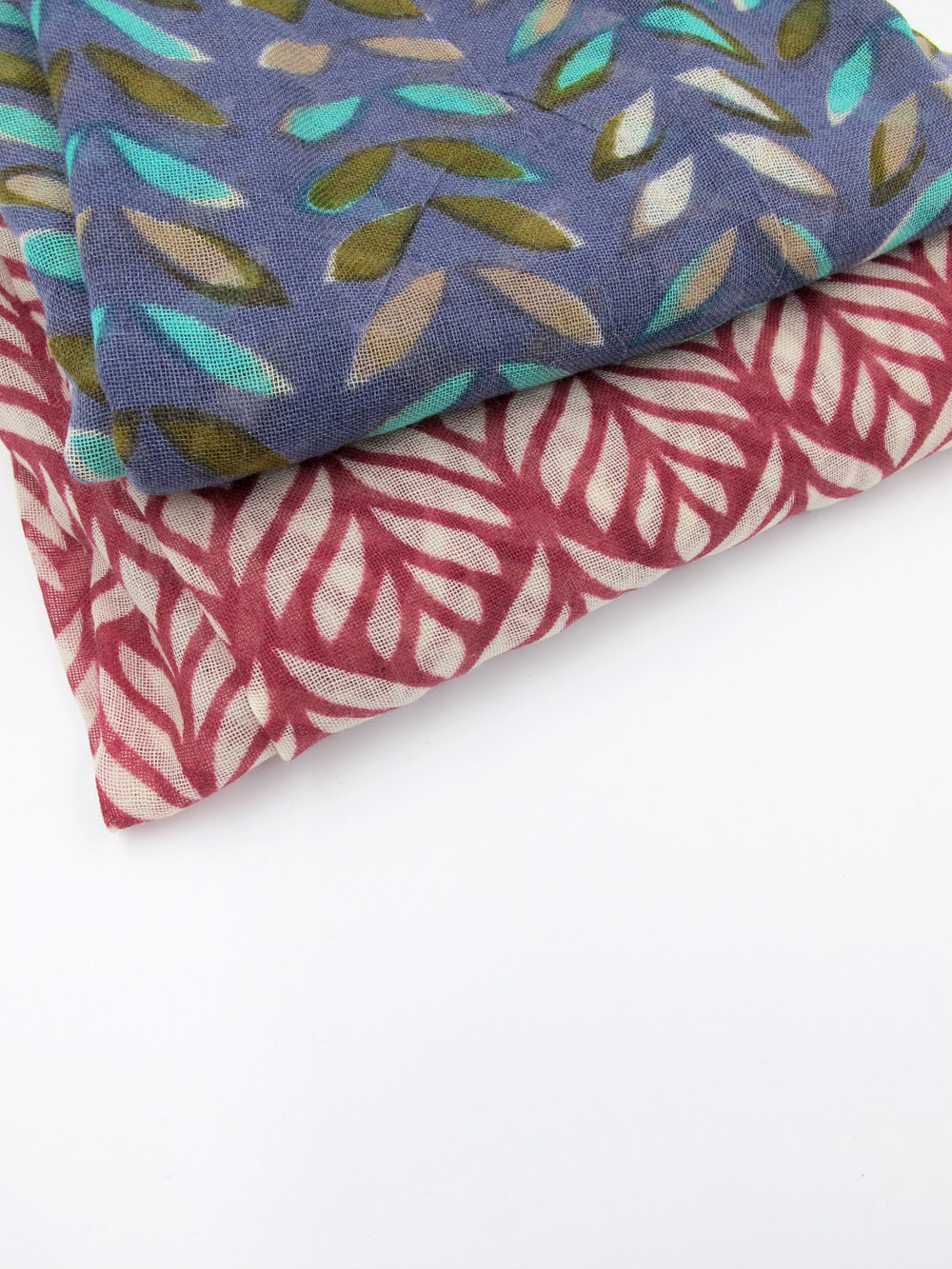 Printed fine wool scarves
