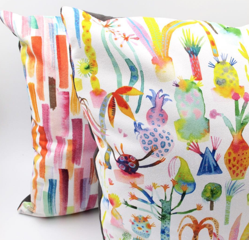 Cushions designed by UK illustrators for Wraptious