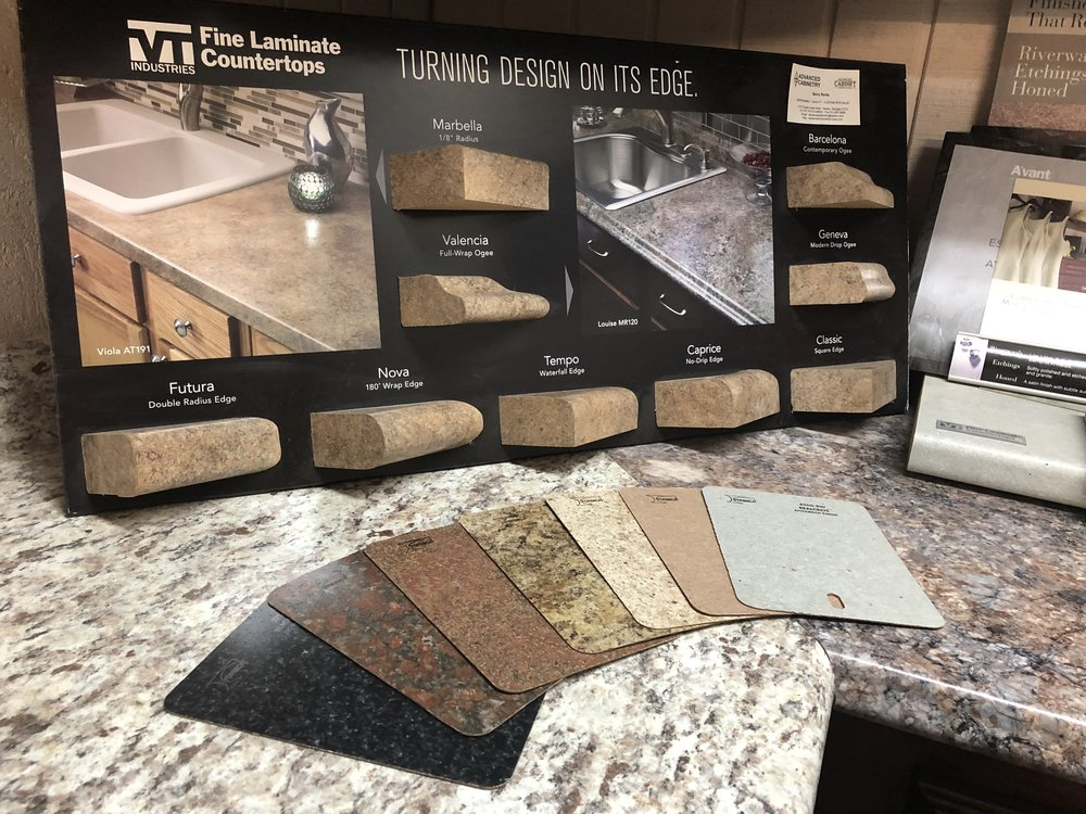 Laminate - Laminate countertops are a staple in the cabinet industry for a quality look and feel at a budget price. We source our laminate tops from Formica and Wilsonart, and each provider has a variety of colors and edge designs available. Price Range: $More Information: Contact Us