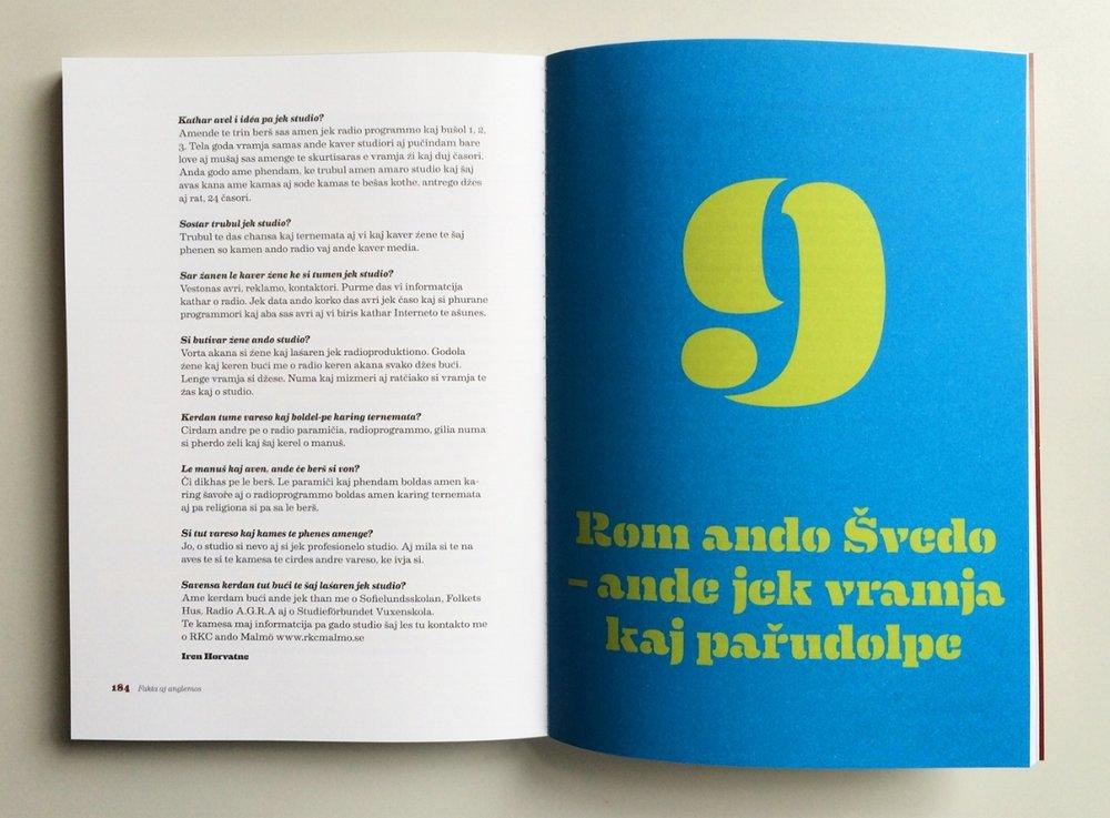 Uppslag ur boken  Fakta aj anglemos  för Skolverket på språket kelderash.
