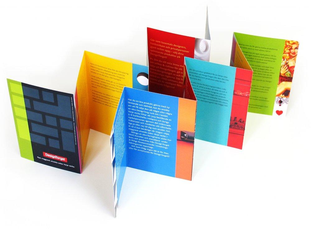 Kom och sälj , folder som riktade sig till ansökarna av säljplats på Designtorget.