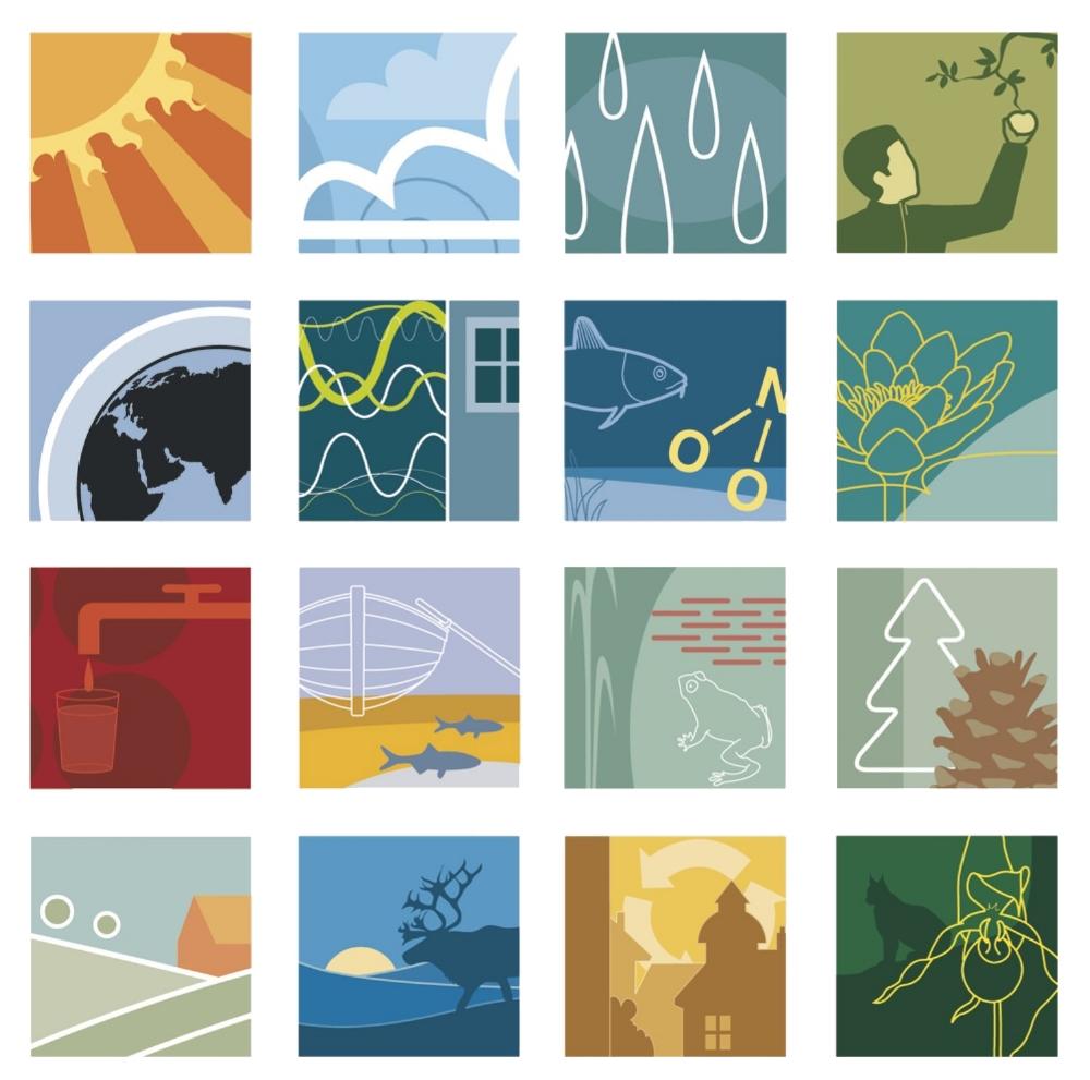 Ikonerna för Sveriges 16 miljökvalitetsmål togs ursprungligen fram för Miljödepartementet men används numera av flera berörda organisationer. Typisk Form stod för art direction. Illustrationer av Tobias Flygar.