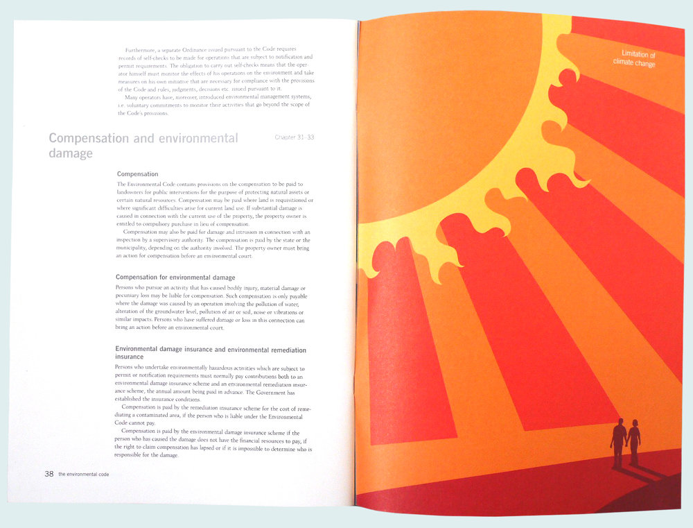 Uppslag ur broschyr om Sveriges 16 miljökvalitetsmål, detta om begränsad klimatpåverkan, för Naturvårdsverket.