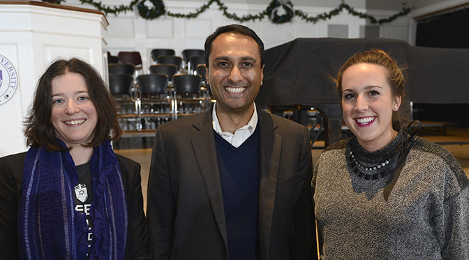 Dr. Katie Cruger, Eboo Patel and Chatham Student Government President, Sarah Jukovic '16