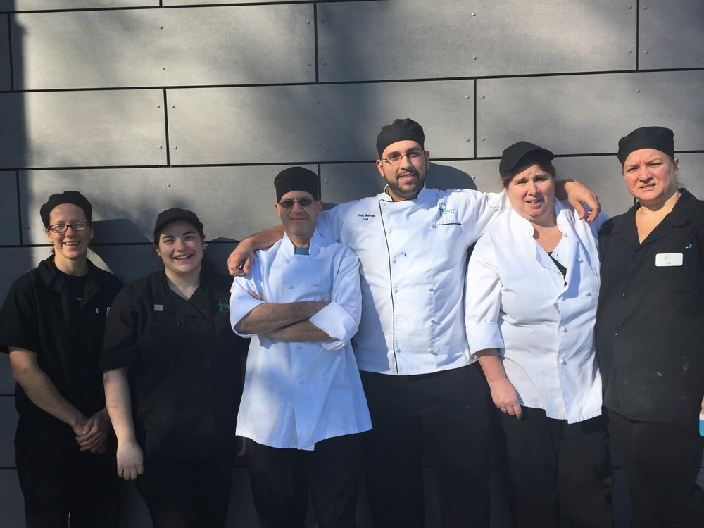 Eden Hall Executive Chef Chris Galarza (third from the right) with his staff