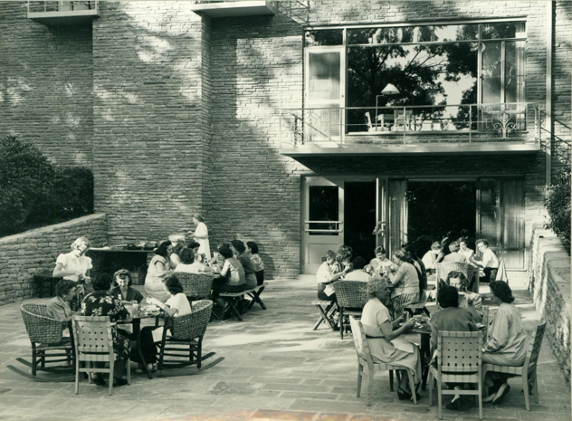Unknown. (n.d.). Picnic at Eden Hall Farm: People Having Lunch Outside at Eden Hall. Retrieved from Chatham University Archives & Special Collections.