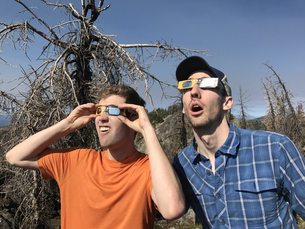 5.8 Alpine Mountain Fun Institute members Andrew and Kyle taking in the Solar Eclipse in the Strawberry Mountains, Oregon.