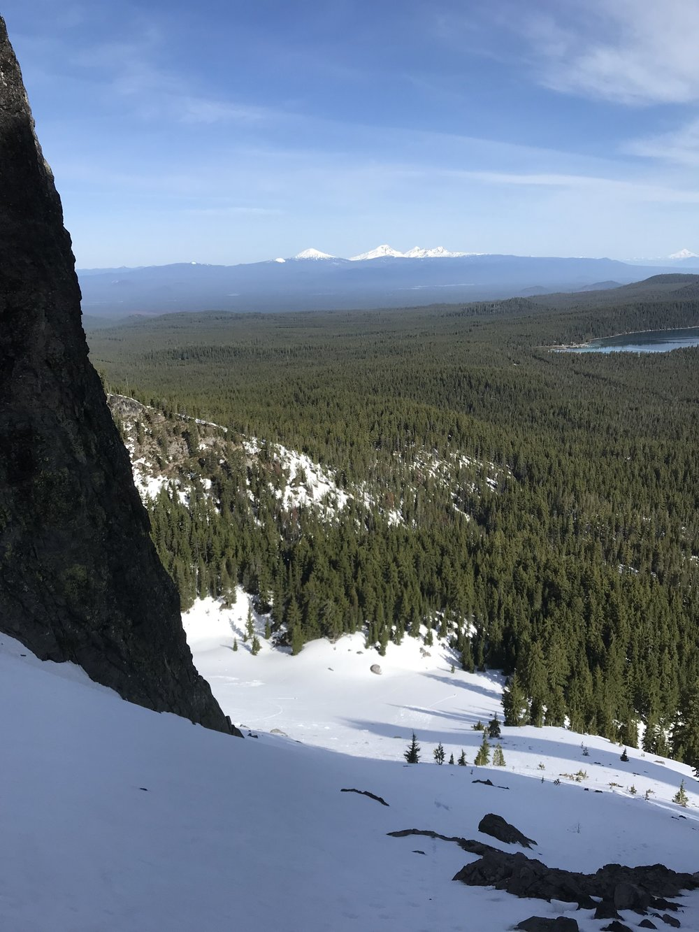 Near the top - Paulina Lake, Mt. Bachelor, Three Sisters, Mt. Jefferson in the distance