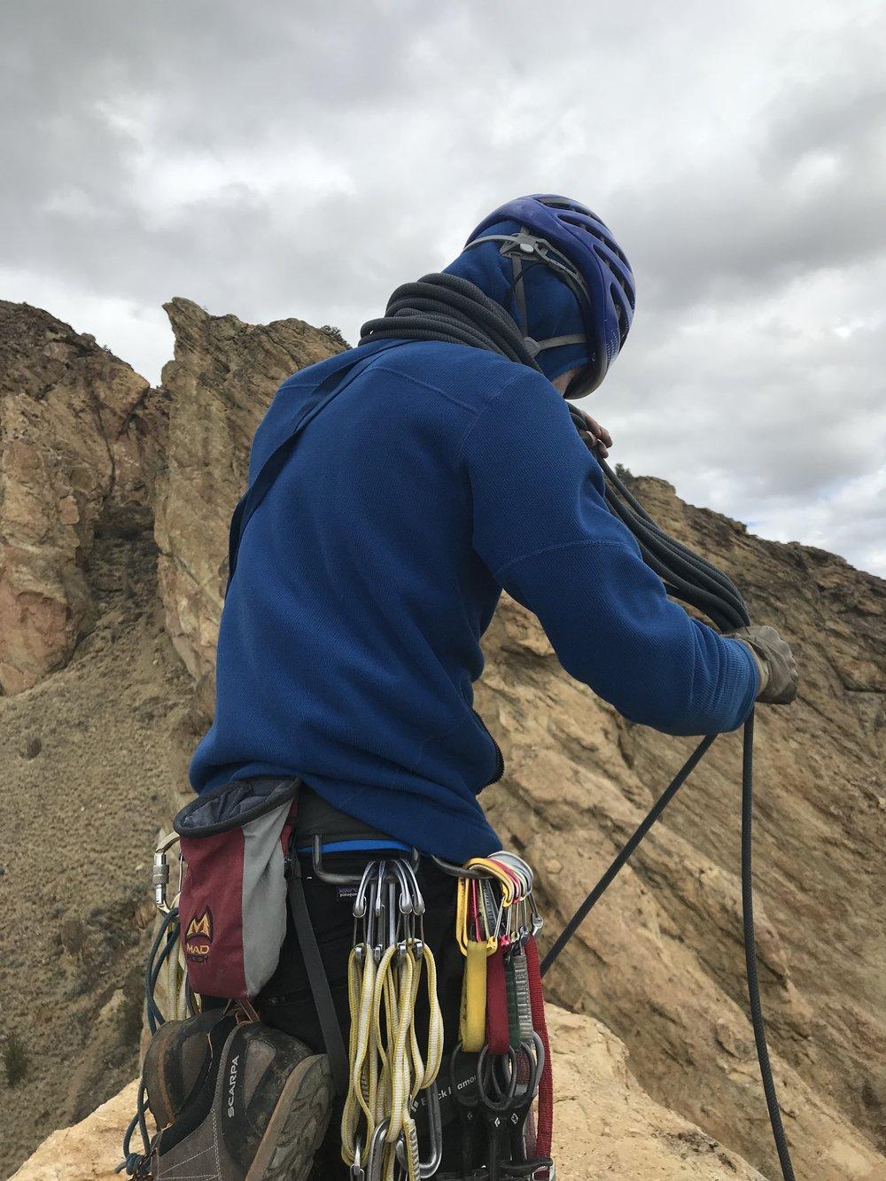 kyle Preparing for the rappel - Smith Rock, Oregon