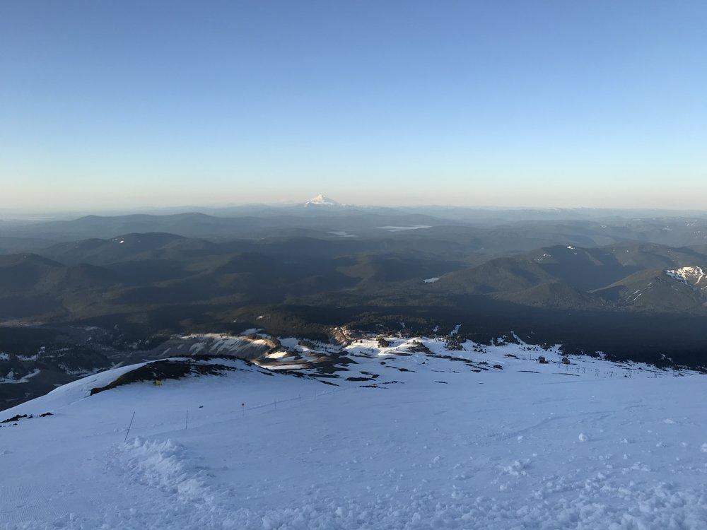 sunrise, mt. Jefferson looming - Palmer Snowfield, Oregon