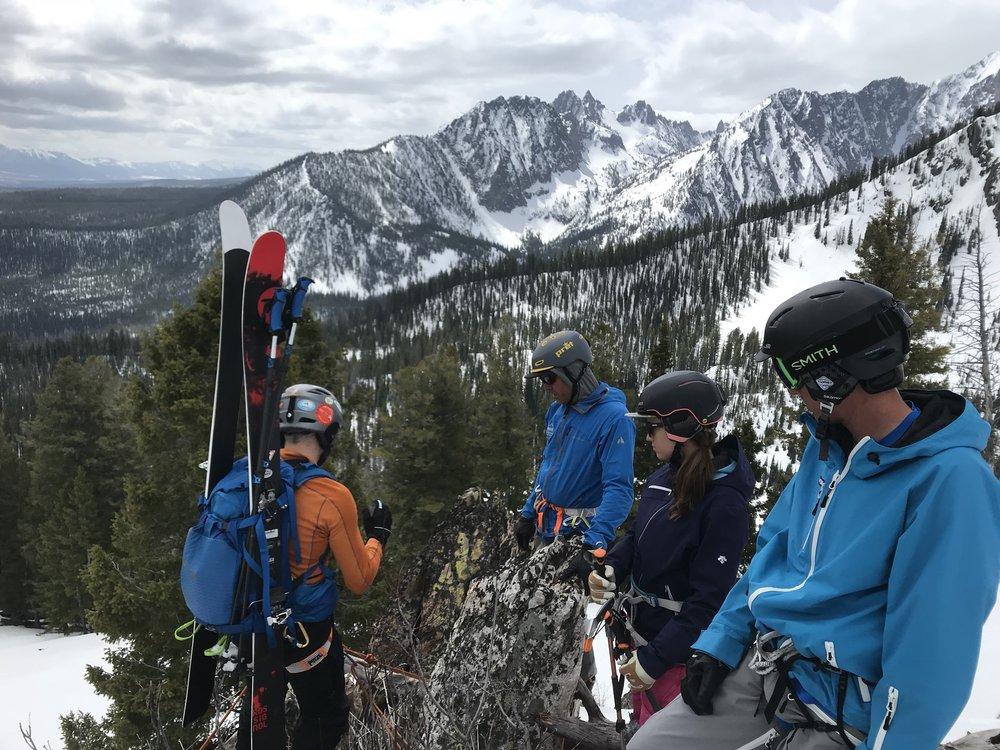 getting set to rappel - Sawtooth Mountains, Idaho