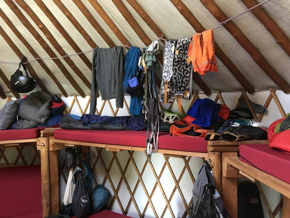 drying gearpost tour - Willams Peak Yurt, Idaho
