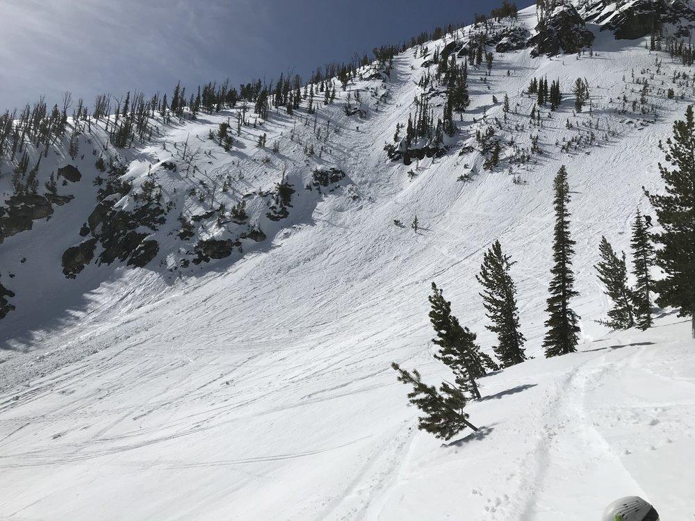 small chute, hard snow -