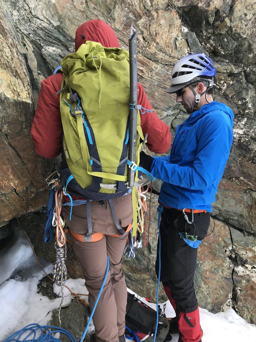 preparing to simul-climb, getting cold - Base of Mt. Shuksan summit pyramid, WA