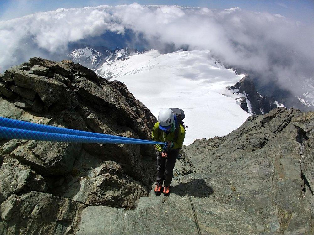 starting to rappel off shuksan, sulphide glacier below - North Cascades, WA