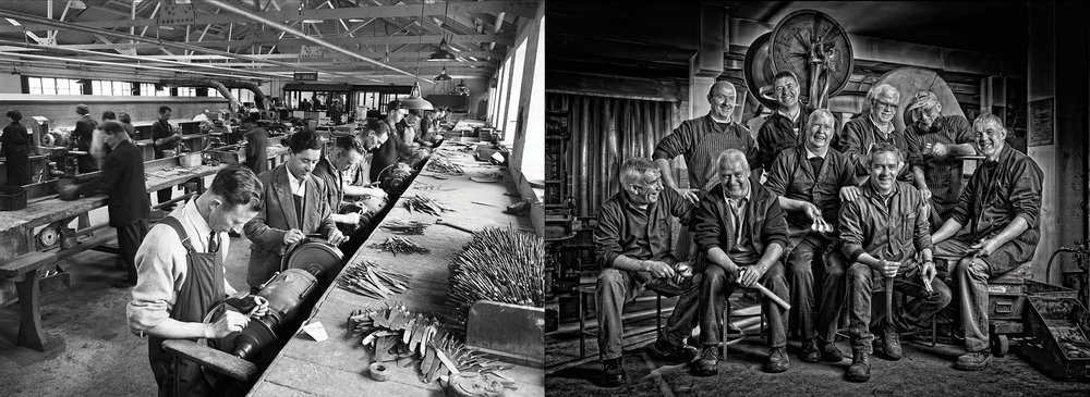 Our Factory Team, 1958 and today.