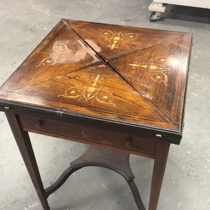 Antique Edwardian Mahogany Envelope Game Table before some loving care