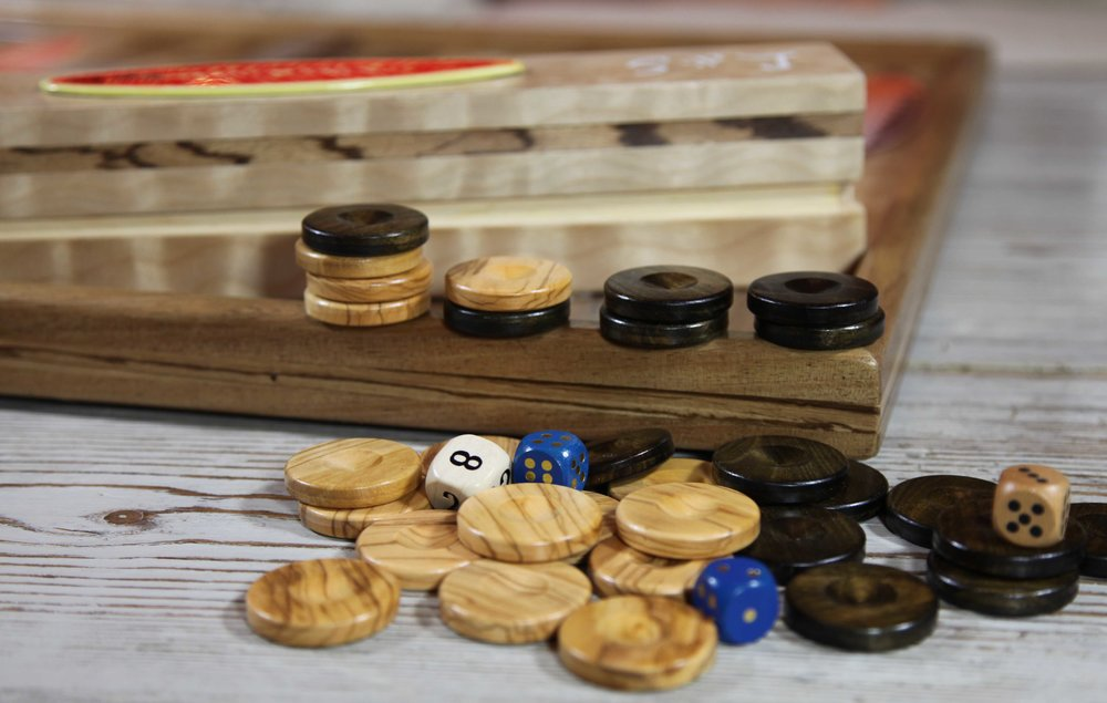 Solid Olivewood playing checkers