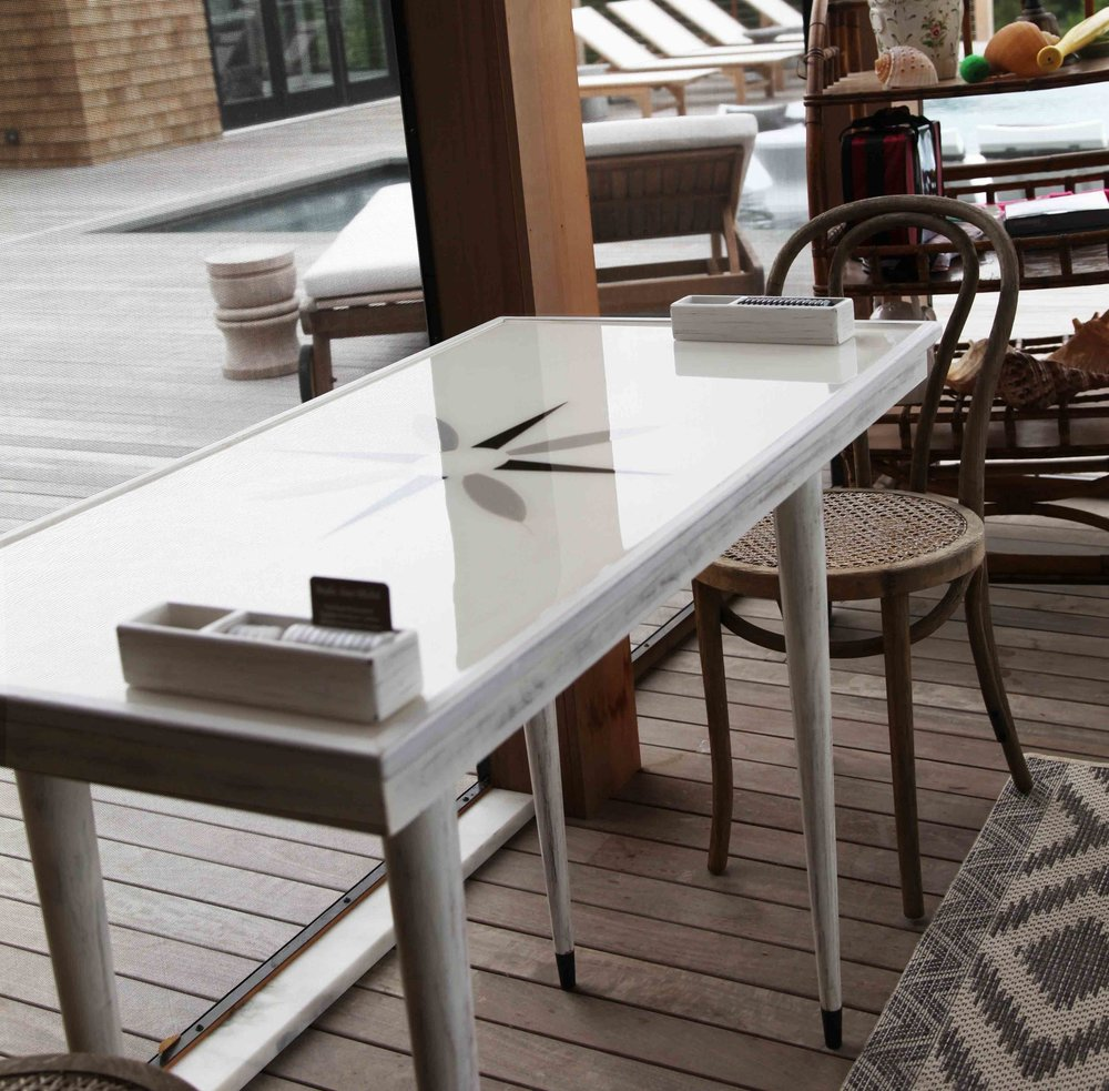 This table was made with a custom matching cover, so that the table could be used for other purposes when the family wasn't enjoying a game!