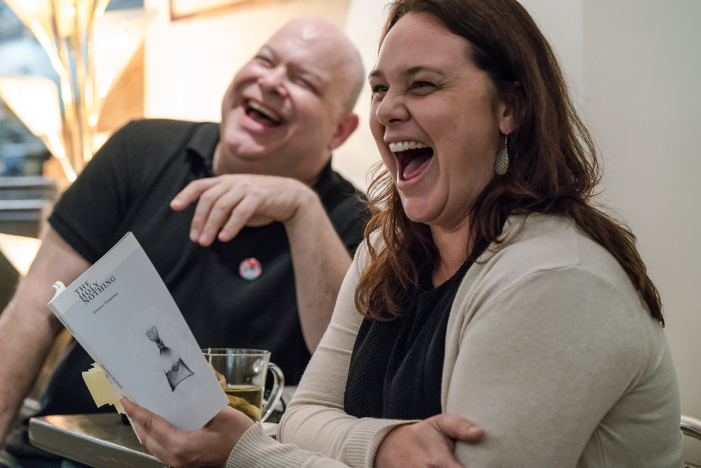 Jessica and Kirby of Knife Fork Book having a laugh about something over The Holy Nothing.